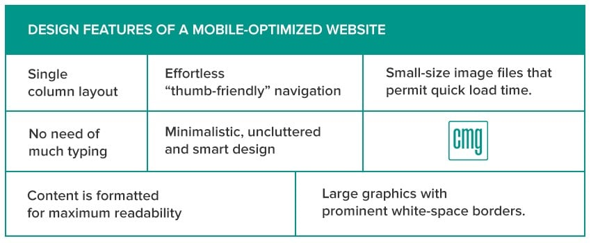 Design features of a mobile-friendly site